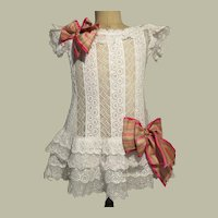 Period White Lace French Party Dress for Large Bebe