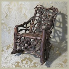 Wonderful Folk Art Twig/Root Miniature Rocking Chair - American 19th Century