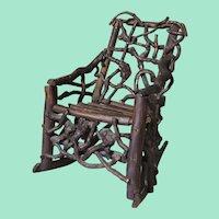 Wonderful Folk Art Twig/Root Miniature Rocking Chair - American 19th Century