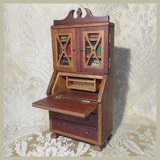 Miniature Antique Secretary for Doll Display - Circa 1900