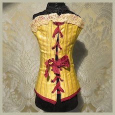 Antique Miniature Corset in Yellow Silk