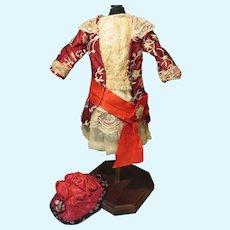 Circa 1890 Original Bebe Dress + Vintage Bonnet - Cabinet Size Doll