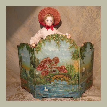 Fun and Colorful Miniature Tri-Fold screen for Doll Display - 1920s - '30s