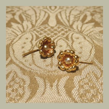 Genuine Antique Ormolu Floral Earrings for Dolls