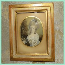 Eighteenth Century Portrait of a Lady - Miniature - Great for Doll Display