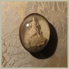 Miniature Plaster Relief Reliquary Ex Voto of St. Benedict for Dollhouse