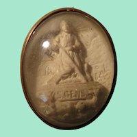Miniature Plaster Relief Reliquary Ex Voto of St. Benedict for Dollhouse