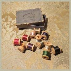 Antique Boxed Set of a Dozen Miniature Wooden Spools of Thread
