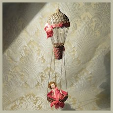 Whimsical Antique Hot Air Balloon Made From Filament Bulb W/ Bisque Head Doll