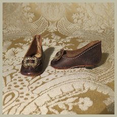 Small Heeled Leather Slippers - Antique