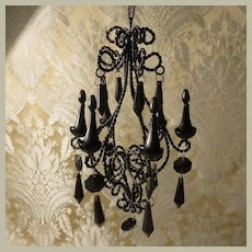 Spooky Miniature Black Chandelier for Dollhouse or Doll Display - Vintage