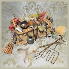 Antique Peddler's Basket With Contents - For Doll About 18""