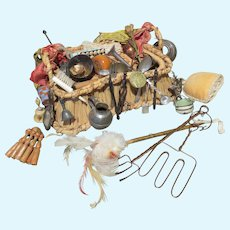 """Antique Peddler's Basket With Contents - For Doll About 18"""""""