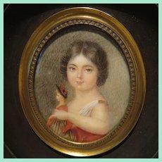 """Fine French Miniature Portrait - """"Le Jeune Fille et la Poupee"""""""