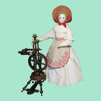 Elaborate Antique Upright Spinning Wheel for French Fashion Doll