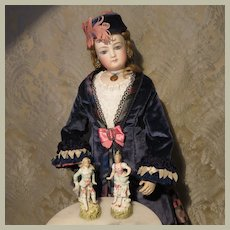 Exquisite Pair of Tiny Porcelain Figurines for French Fashion Display