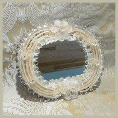 Fanciful Miniature Venetian Glass Mirror French Fashion Display