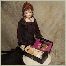 Black Vanity Case for French Fashion - Antique - Full of Accessories
