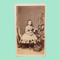 Beautiful Carte de Visite of Young Girl with Her French Fashion Doll