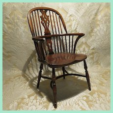 Excellent Miniature English Oak Windsor Chair for Doll Display