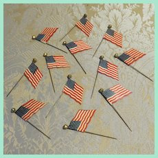 Miniature American Flag Celluloid Stickpin For Dolls or Other Uses
