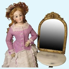 Gold Framed Antique Mirror for French Fashion Doll Display