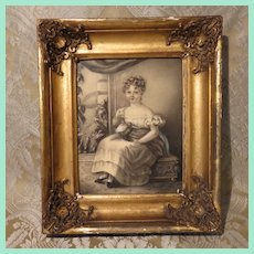 "Superlative Miniature Framed Artwork: ""Little Girl With Her Doll"" - Early Nineteenth Century"