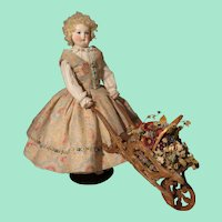 Whimsical Carved Wood Wheelbarrow for Doll Display - French Fashion