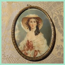 Antique Portrait Painting of  Empress Eugenie - Miniature, French