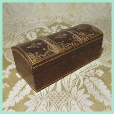 Small Leather-covered Coffrette for Antique Doll Accessories