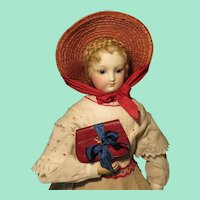 Fine Red Leather Clutch Purse for French Fashion Doll