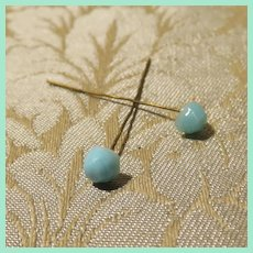 Antique Original Jumeau Earrings - Size Small - Turquoise Glass