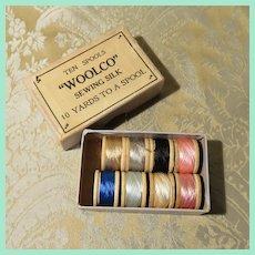 "Small Box of Miniature Spools of Silk Thread - ""Woolco"""