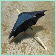 French Fashion Umbrella With Blue Stripe Silk Cover