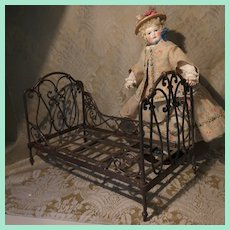 French Doll's Antique Metal Bed - Folding Daybed