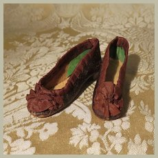 Superb Pair of Antique French Fashion Slippers - Narrow