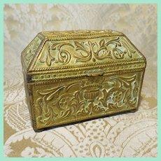 Antique Miniature Brass Repousse Coffret Box