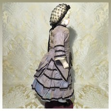 Genuine Period Silk French Fashion Dress and Snood For Young Lady