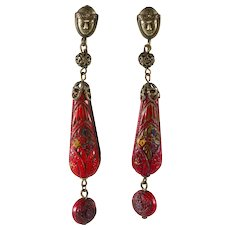 Dangle Earrings Face with Red Molded Glass Dangles c. 1930