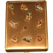 1940s Enamel and Rhinestone Compact Style Cigarette or Card Case Vintage