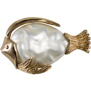 1960s Pearl Belly Fish Pin Brooch Vintage
