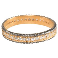 Eternity Band Ring Sterling Silver Gold Plating Clear Cubic Zirconia CZ Stones Size 8