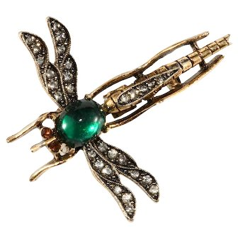 ART Marked Dragonfly Pin Brooch Green Cabochon Rhinestones Insect Bug