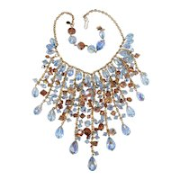 Assunta Giovanna Waterfall Bib Necklace Italian Couture Crystal Beads Blue Light Brown