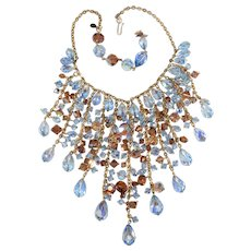 Assunta Giovanna Waterfall Bib Necklace Italian Couture Crystal Beads Blue Light Brown