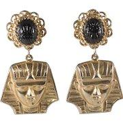 Alexis Kirk 3 Inch King Tut Black Glass Scarab Dangle Earrings Vintage 1970s