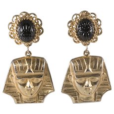 Alexis Kirk 3 Inch King Tut Black Glass Scarab Dangle Earrings Vintage 1970s