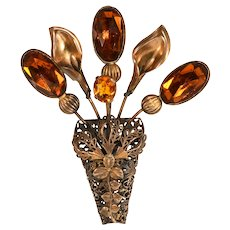 Brooch 1930s LARGE 4 Inch Calla Lily Amber Rhinestones Filigree Pin Vintage