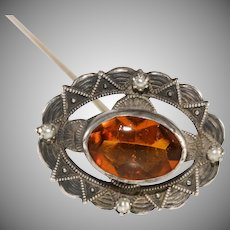 Amber Glass and Faux Pearl Sterling Silver Hatpin Hat Pin Antique