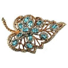 Designer Quality Aqua Blue Rhinestone Leaf Brooch Pin